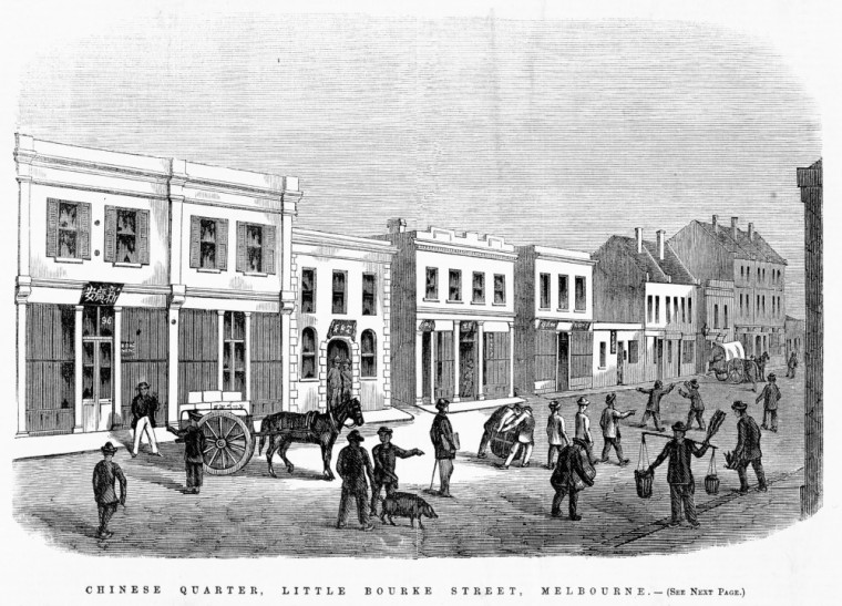CHINESE QUARTER, LITTLE BOURKE STREET, MELBOURNE. [picture] Ebenezer and David Syme, 1863.