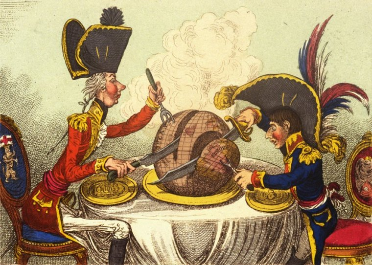 James Gillray's 1805 cartoon, The Plumb Pudding in Danger, depicts prime minister William Pitt and Napoleon Bonaparte carving up the world Photograph: Rischgitz/Getty Images