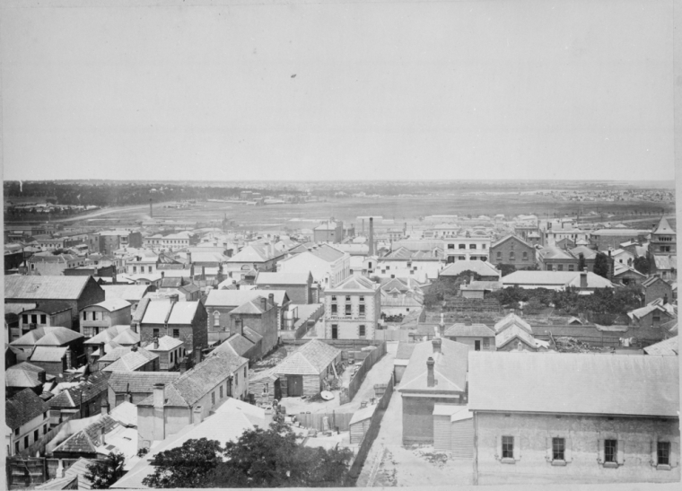 [Shows Little Bourke Street between William and Queen Streets] : from the tower of Dr Fitzgerald's residence Lonsdale Street West / John No-one, photographer. [Melbourne]: Crown Lands and Survey 1869