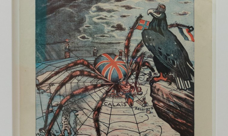 A 1915 German poster, entitled L'Entente Cordiale, depicting a British spider weaving a web over Europe. Photograph: John Ellis/The British Library