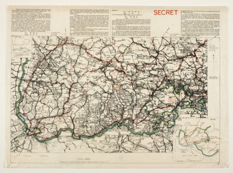"A silk map of the German/Swiss border, featuring detailed escape instructions and clearly designated ""SECRET."" BRITISH LIBRARY/PUBLIC DOMAIN"