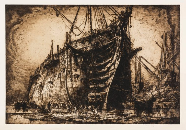 Frank Brangwyn: The last of the HMS Britannia, c 1917, from 'East meets west: Frank Brangwyn and Yoshijiro Urushibara's collaborations – in pictures'
